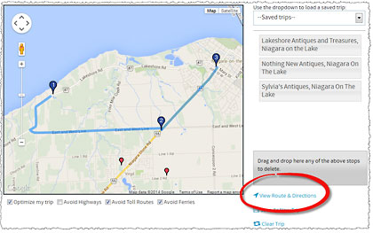 Print your route and view detailed directions to each antique store | Antiques Trip Planner