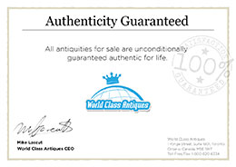 The World Class Antiques Authenticity Guarantee